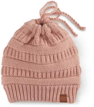 So Women's SO Knit Messy Bun Beanie