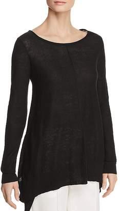 Donna Karan Linen Step-Hem Sweater