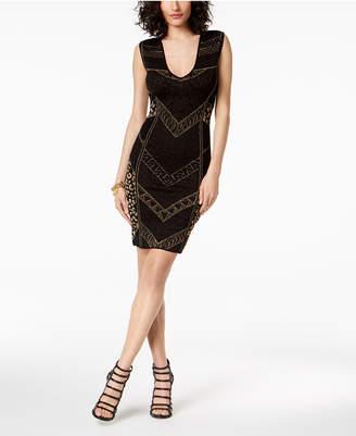 Just Cavalli Metallic Textured-Print Sheath Dress