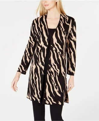 Kasper Animal-Print Sweater Jacket