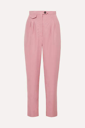 Nanushka Asha Pleated Lyocell-blend Straight-leg Pants - Pink
