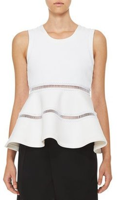 Carven Sleeveless Jersey & Ponte Peplum Top, White $320 thestylecure.com