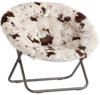 Pottery Barn Teen Hang-A-Round Chair, Pony Faux-Fur w/ Bronze Base