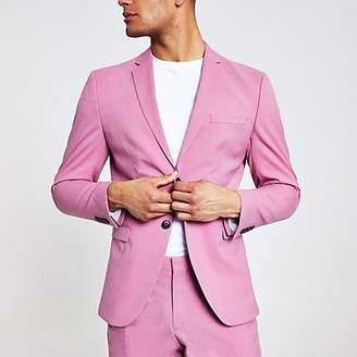 River Island Selected Homme pink slim fit suit jacket