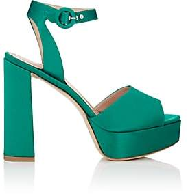Barneys New York Women's Satin Platform Ankle-Strap Sandals-Md. Green