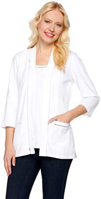 Denim & Co. Open Front Cardigan and Tank Set with Novelty Trim