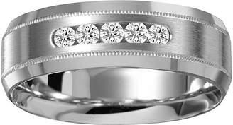 MODERN BRIDE Mens 7mm 1/4 CT. T.W. Diamond 10K White Gold Milgrain 5-Stone Wedding Band