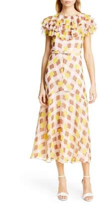 8fbe4ae001ed Kate Spade Geo Print Ruffle Silk Midi Dress