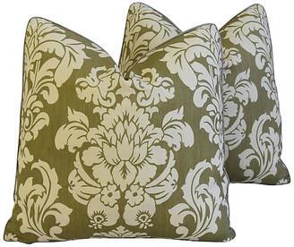 One Kings Lane Vintage Brule Fabric Randall Damask Pillows - Pr