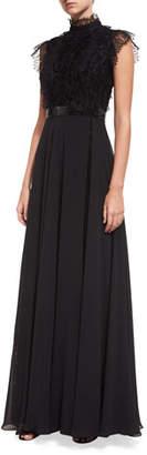 Jovani Mock-Neck Lace Overlay Embellished Evening Gown
