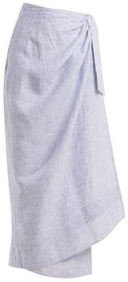 Wiggy Kit - Sundowner Linen Chambray Wrap Skirt - Womens - Light Blue