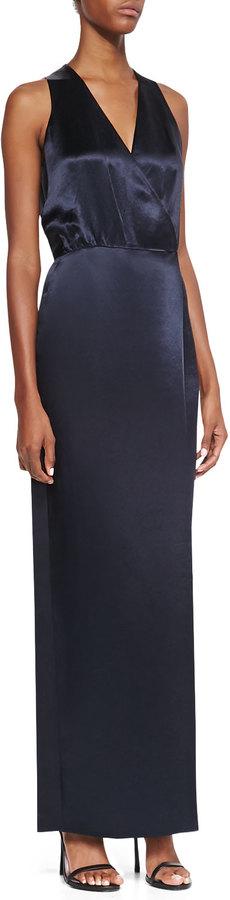 Tibi Sleeveless Faux-Wrap Dress, Navy