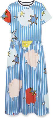Mira Mikati Printed Cotton-blend Sateen Dress - Blue