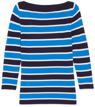 Michael Kors Collection - Striped Cashmere Sweater - Light blue $1,195 thestylecure.com