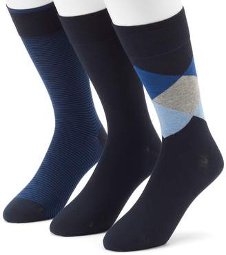 Marc Anthony Men's 3-pack Diamond, Solid & Striped Dress Socks
