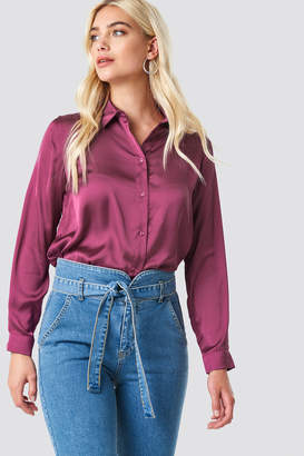 NA-KD Na Kd Long Sleeve Satin Shirt Burgundy