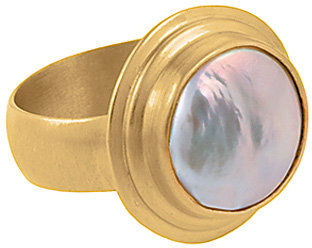 Baroni Domed Pearl Gold Ring
