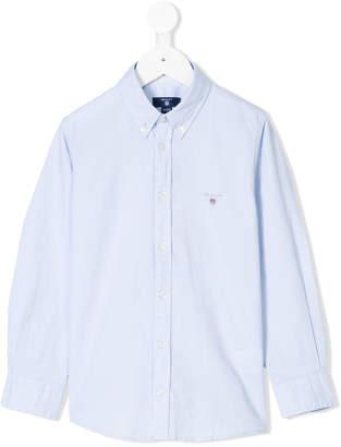 Gant Kids logo embroidery button-down shirt