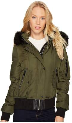 Vince Camuto Down Bomber with Faux Fur Hood N8331 Women's Coat