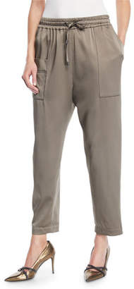 Brunello Cucinelli Satin Jogger Pants w/ Square Pocket & Monili Trim