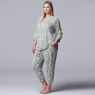 Vera Wang Plus Size Simply Vera Sleep Top & Cropped Pajama Pants Set