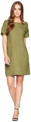 Three Dots Woven Linen Cross-Back Shift Dress Women's Dress