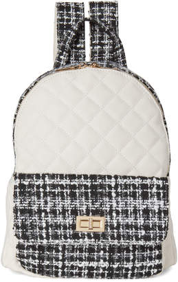 Urban Expressions White & Black Flynn Tweed Vegan Backpack