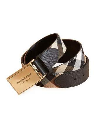 Burberry George Check Cotton & Leather Belt, Black
