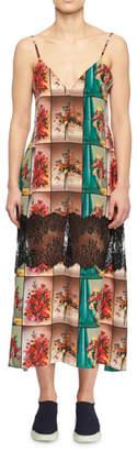 Stella McCartney V-Neck Sleeveless Floral-Print Flowy Silk Cami Dress w/ Lace Inset