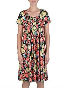 Jump Short Sleeve Pintuck Summer Floral Dress