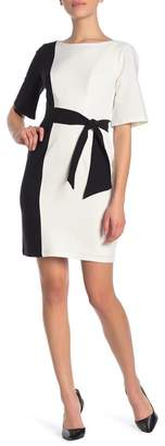 London Times Colorblock Side Tie Sheath Dress (Petite)