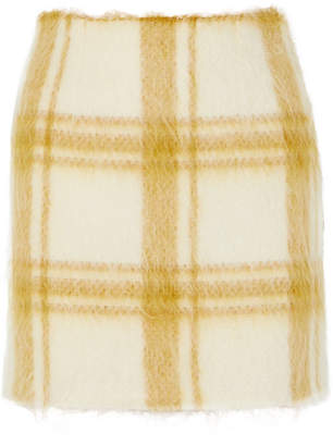 ALEXACHUNG Checked Wool-blend Felt Mini Skirt - Pastel yellow