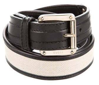 Gucci Gucci Canvas Leather-Trimmed Belt