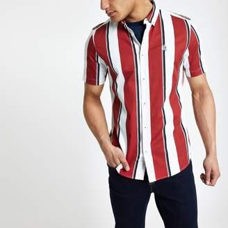 River Island Mens Red stripe slim fit shirt