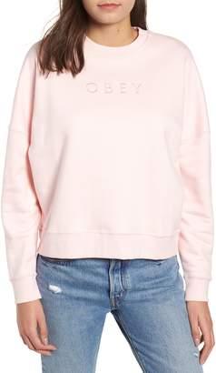 Obey Annie Logo Cotton Blend Crewenck Sweatshirt