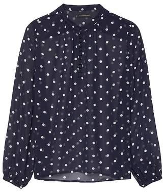 Banana Republic Sheer Dot Button-Front Poet-Sleeve Top
