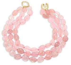 Kenneth Jay Lane Rose Quartz Three-Row Beaded Necklace