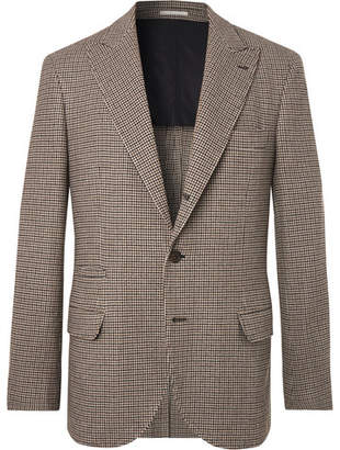 Brunello Cucinelli Brown Alessio Houndstooth Wool and Cashmere-Blend Blazer - Men - Brown