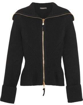Alexander McQueen Ribbed-Knit Wool Peplum Cardigan