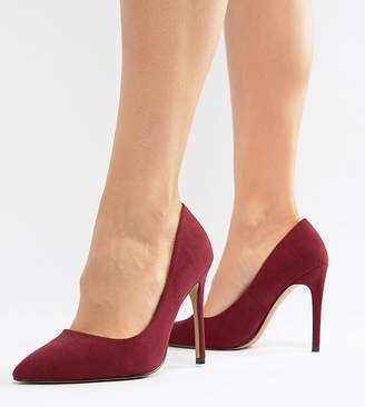 Asos DESIGN Wide Fit Paris high heeled pumps in burgundy