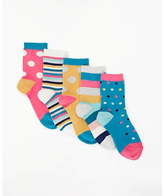 John Lewis Girls' Bright Spot And Stripes Print Socks, Pack of 5, Multi