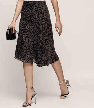 Reiss Neelam - Animal Print Burnout Skirt in Black/Grey