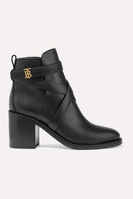 Burberry Logo-embellished Leather Ankle Boots - Black