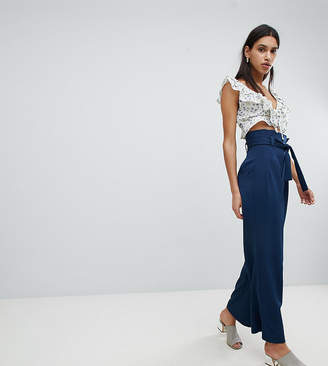 Reclaimed Vintage Inspired Wide Leg Pant With Paper Bag Waist