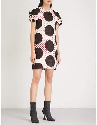 Valentino Tricolour polka dot wool and silk-blend mini dress