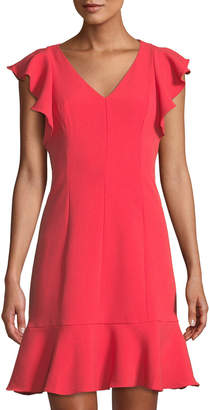 Eliza J Ruffle-Trimmed V-Neck A-Line Dress