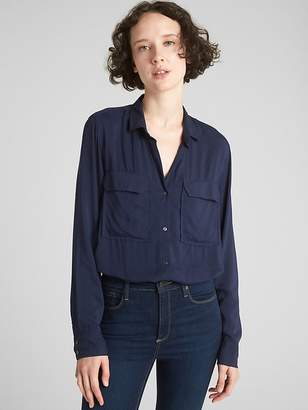 Gap Star Print Utility Pocket Boyfriend Shirt