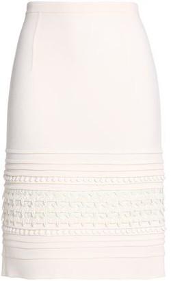 Oscar de la Renta Lace-Trimmed Stretch-Wool Crepe Skirt