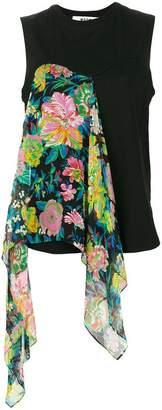 MSGM draped floral tank top