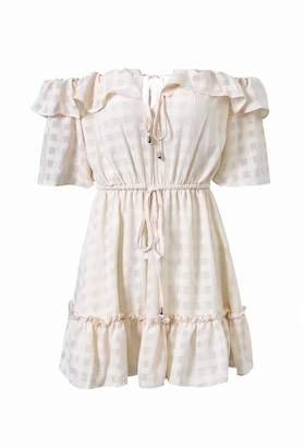 Goodnight Macaroon 'Lyla' Off the Shoulder Ruffle Tied Waist Checked Mini Dress